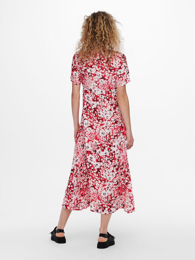 PRINTED MIDI DRESS, High Risk Red, large