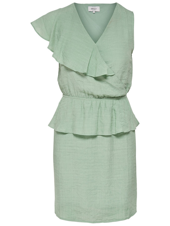 VOLANTS ROBE SANS MANCHES, Deep Lichen Green, large