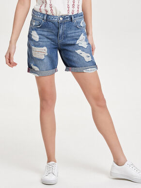 DESTROYED BERMUDA DENIM SHORT