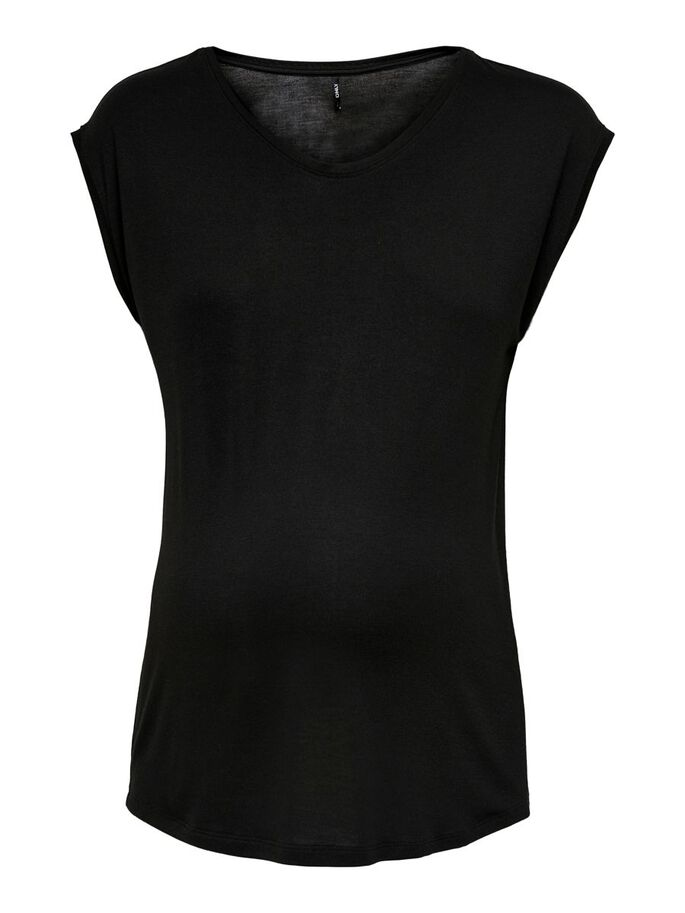 MAMA SOLID COLORED SHORT SLEEVED TOP, Black, large