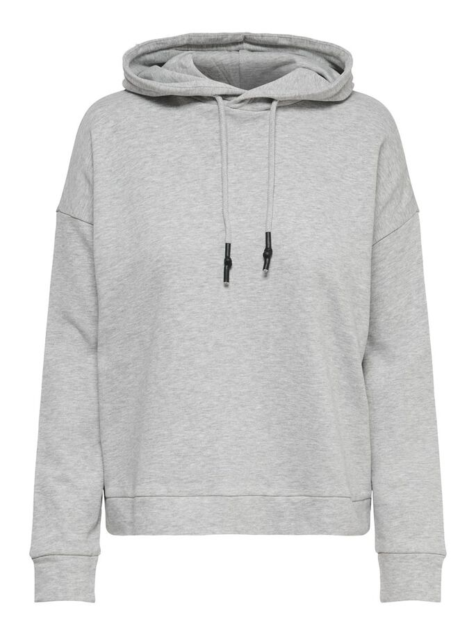 LOOSE FITTED HOODIE, Light Grey Melange, large