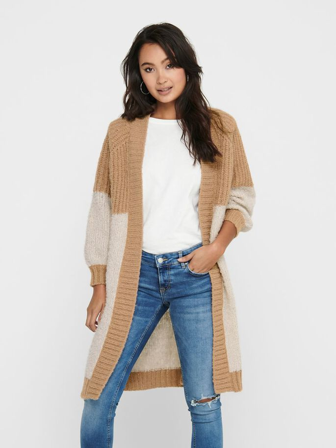 LONG KNITTED CARDIGAN, Pumice Stone, large
