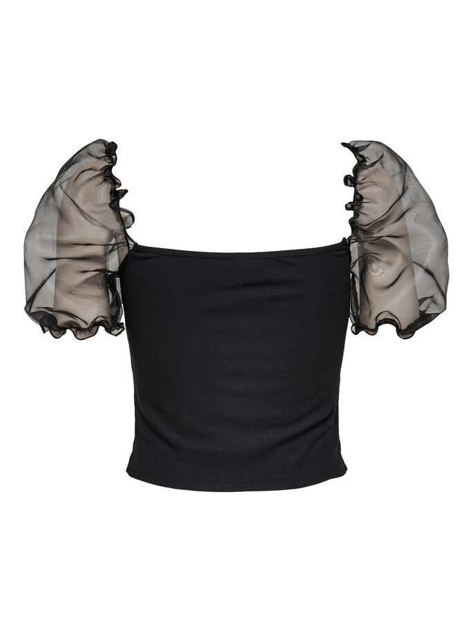 CROPPED ORGANZA PUFF SLEEVE TOP, Black, large
