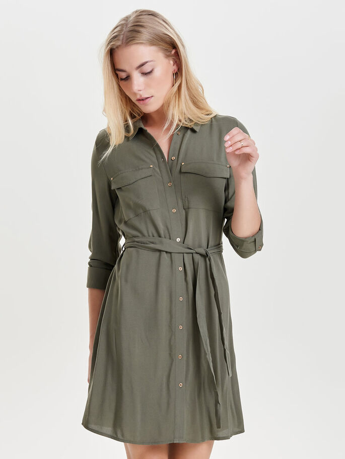 SHIRT DRESS, Dusty Olive, large