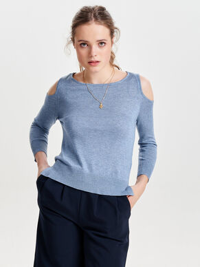 COLD-SHOULDER KNITTED PULLOVER