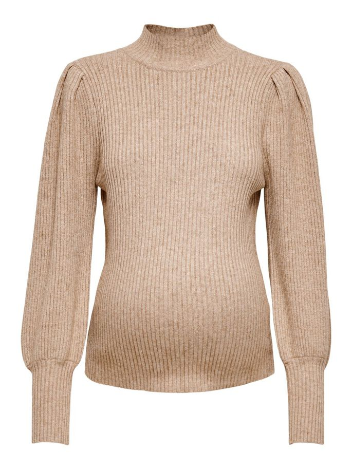 MAMA HIGH NECK KNITTED PULLOVER, Toasted Coconut, large