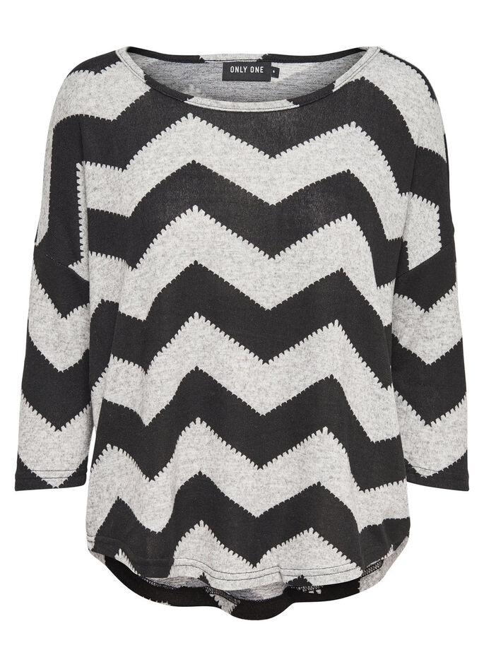 ZIGZAG TOP MANCHES 3/4, Light Grey Melange, large