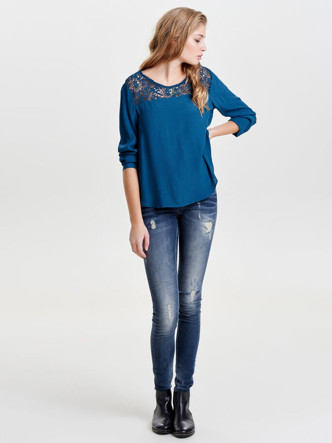 LACE LONG SLEEVED TOP, Reflecting Pond, large