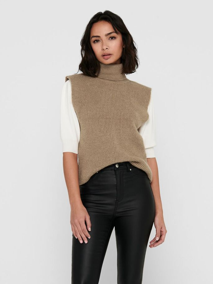 KNITTED WAISTCOAT, Toasted Coconut, large