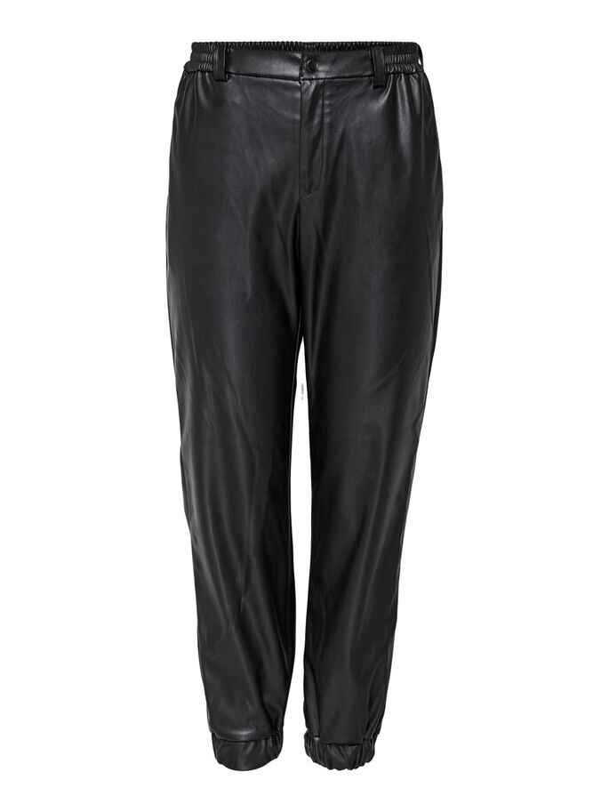 FAUX LEATHER TROUSERS, Black, large