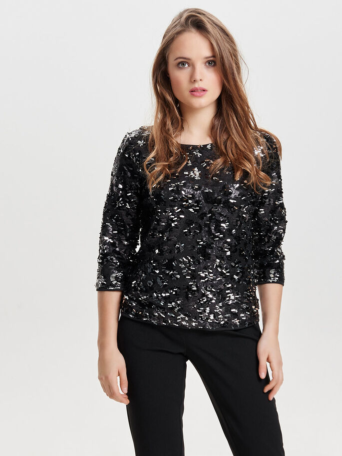 SEQUINS TOP MANCHES 3/4, Black, large