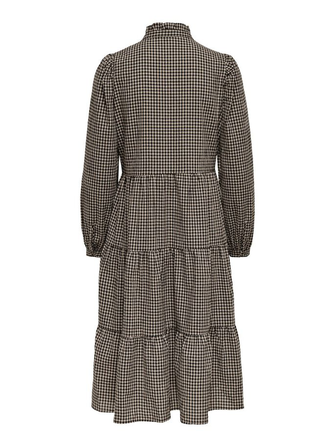 CHECKED DRESS, Black, large