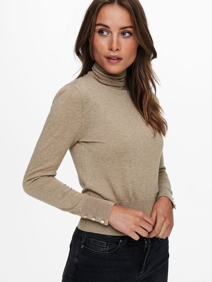 ROLLNECK KNITTED PULLOVER, Tannin, large