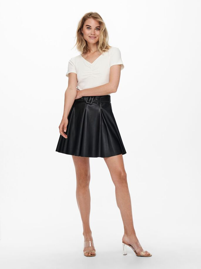 FAUX LEATHER SKIRT, Black, large