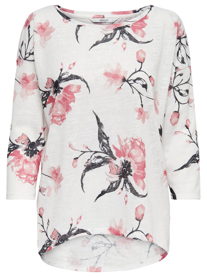 PRINTED LONG SLEEVED TOP, Cloud Dancer, large