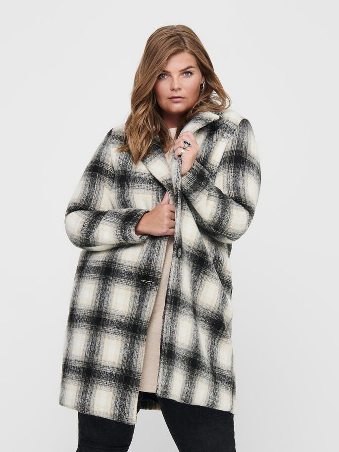 CURVY CHECKED COAT, Pumice Stone, large