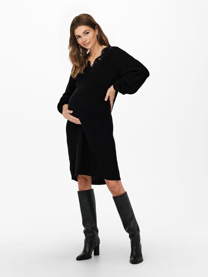 MAMA LACE DETAIL KNITTED DRESS, Black, large