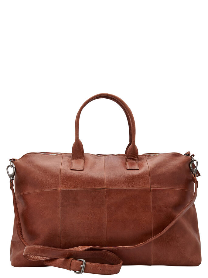 CUIR SAC DE WEEK-END, Cognac, large