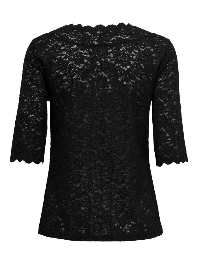 2/4 SLEEVED LACE TOP, Black, large