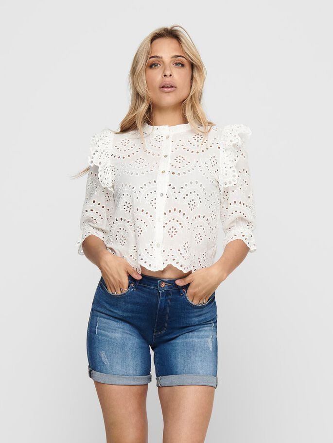 FRILL SHIRT, Cloud Dancer, large