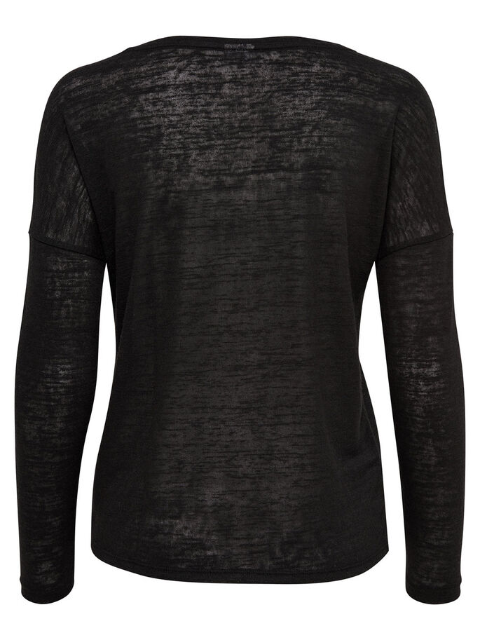 SOLID LONG SLEEVED TOP, Black, large