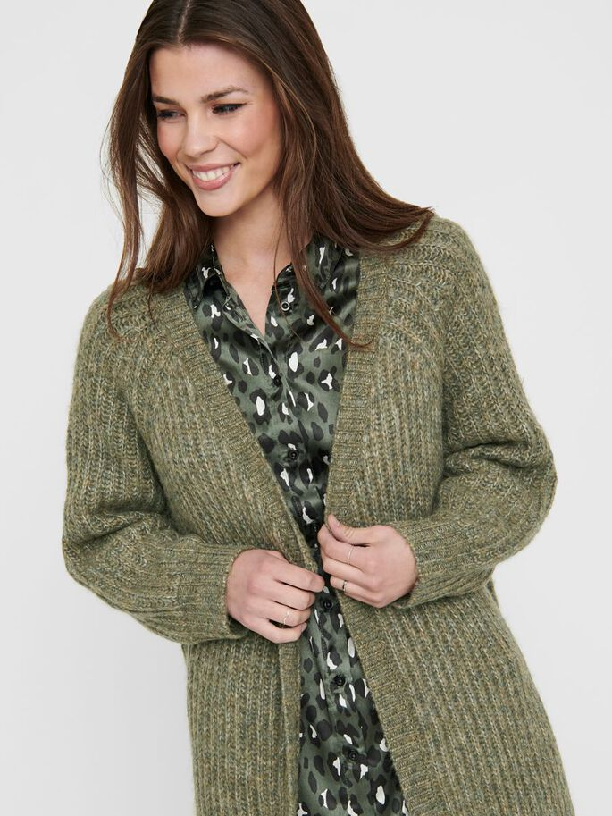 OPEN KNITTED CARDIGAN, Desert Sage, large