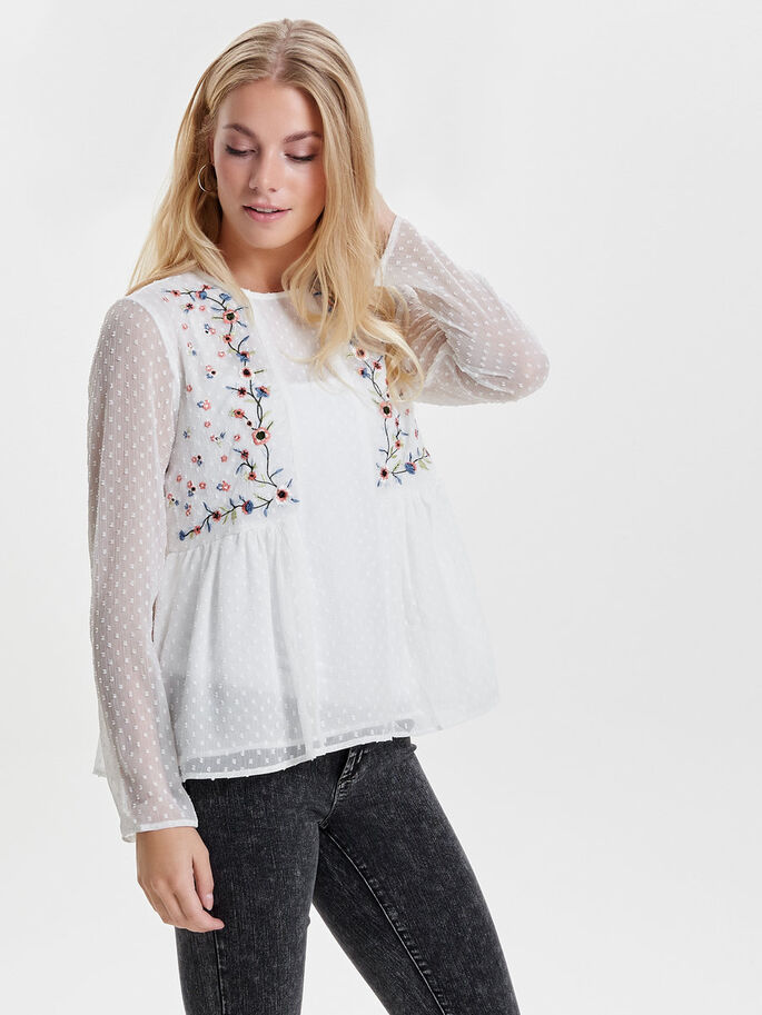 EMBROIDERY LONG SLEEVED TOP, Cloud Dancer, large