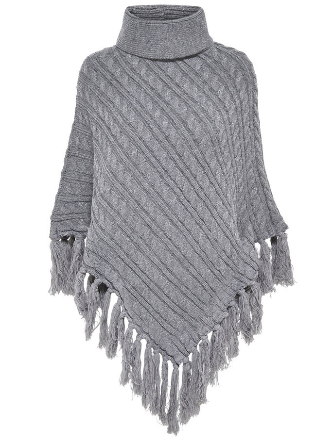 GESTRICKTER PONCHO, Light Grey Melange, large