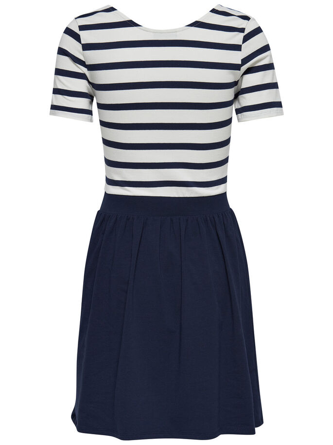 STRIPED SHORT SLEEVED DRESS, Cloud Dancer, large