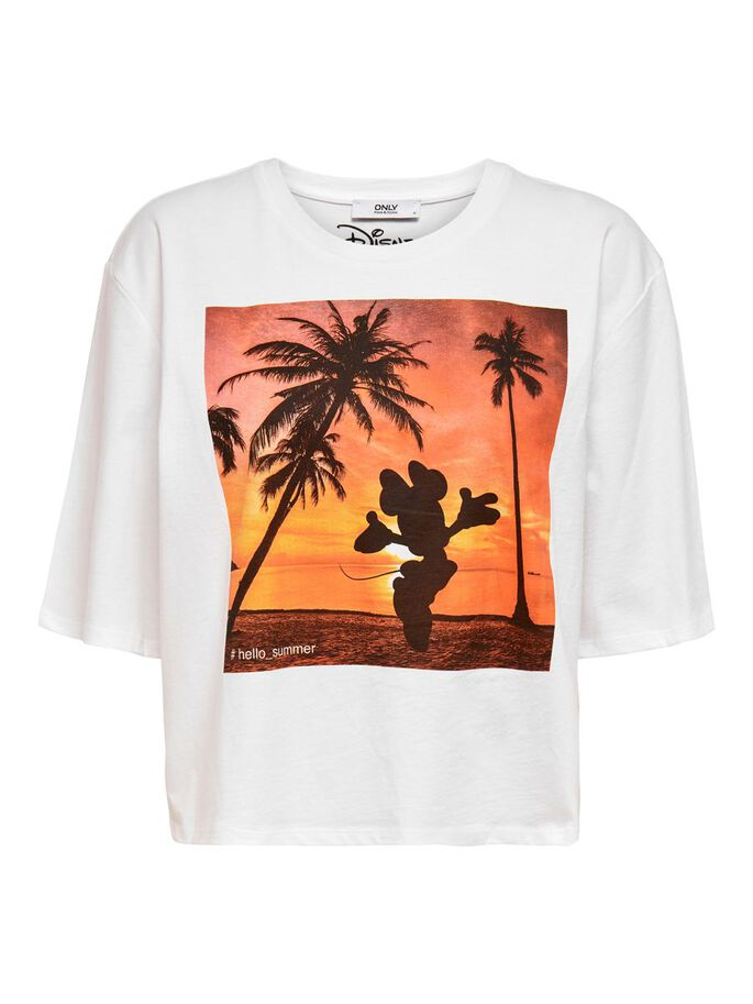 PRINTED LOOSE FITTED T-SHIRT, White, large