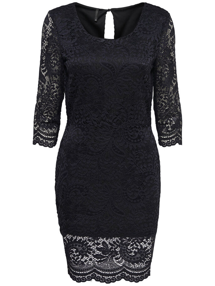 LACE DETAILED DRESS, Black, large