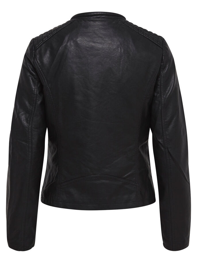 LEATHER LOOK JAS, Black, large