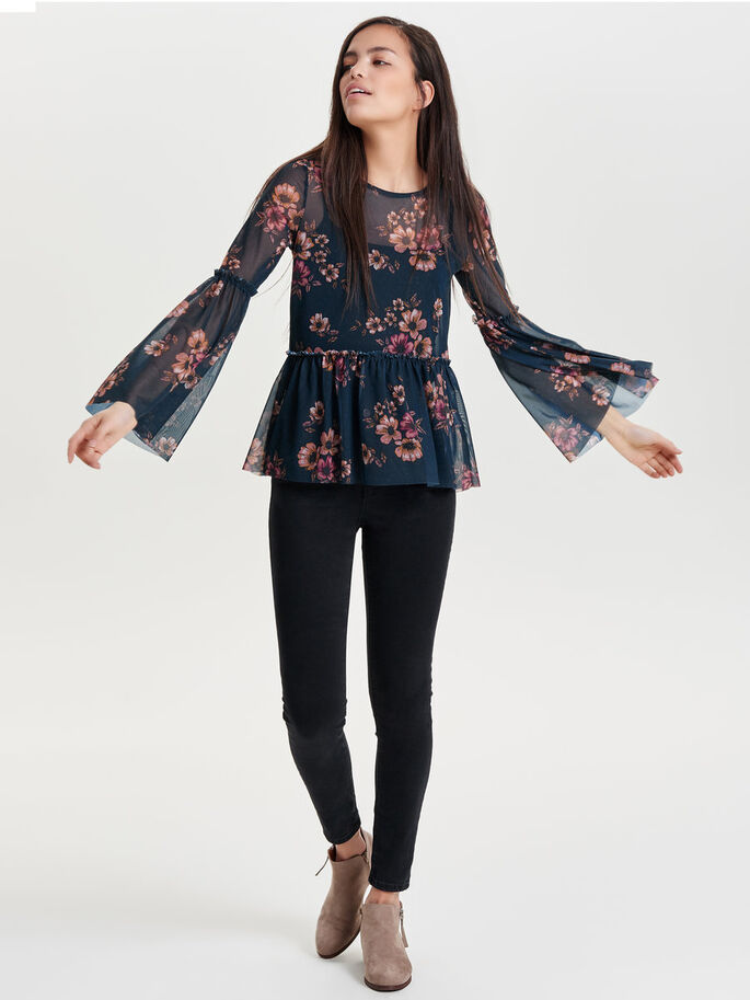PRINTED LONG SLEEVED TOP, Navy Blazer, large