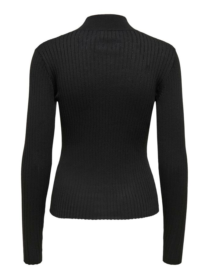 HIGH NECK KNITTED PULLOVER, Black, large