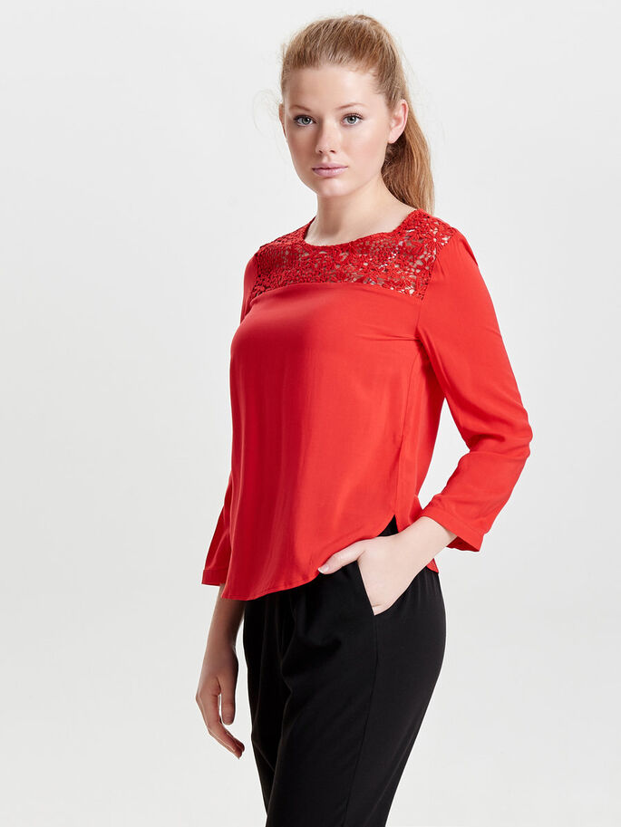 LACE LONG SLEEVED TOP, High Risk Red, large