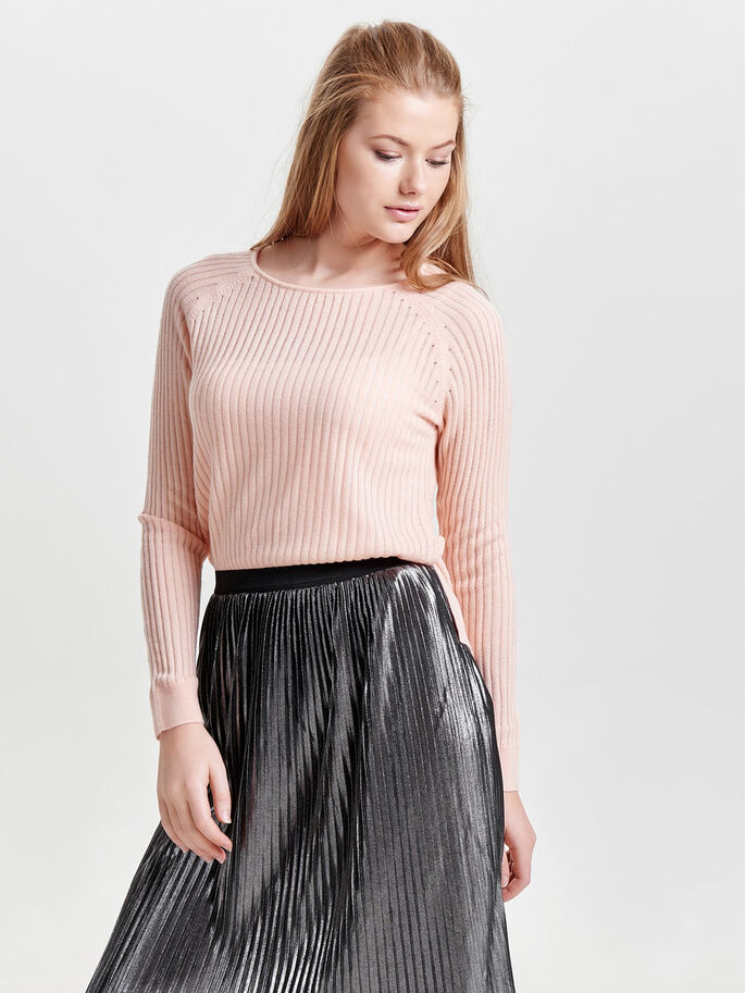LOOSE KNITTED PULLOVER, Peachy Keen, large
