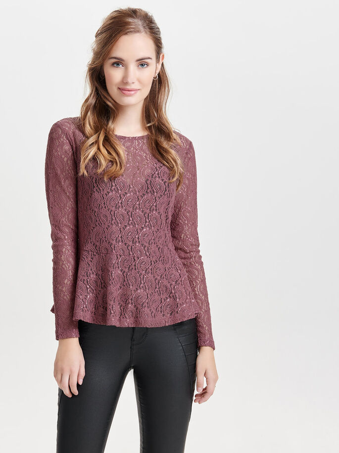 PEPLUM LONG SLEEVED TOP, Rose Brown, large
