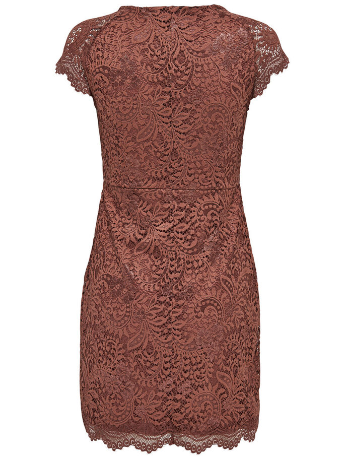 LACE SHORT SLEEVED DRESS, Cognac, large