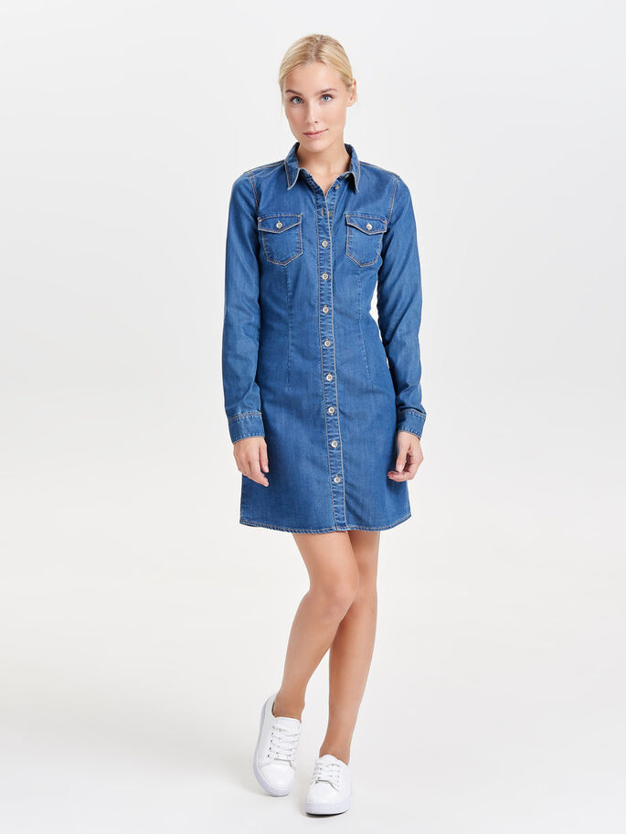 LONG DENIM SHIRT, Medium Blue Denim, large