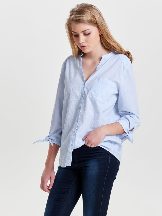 GEDETAILLEERDE BLOUSE MET 3/4 MOUWEN, Cashmere Blue, large