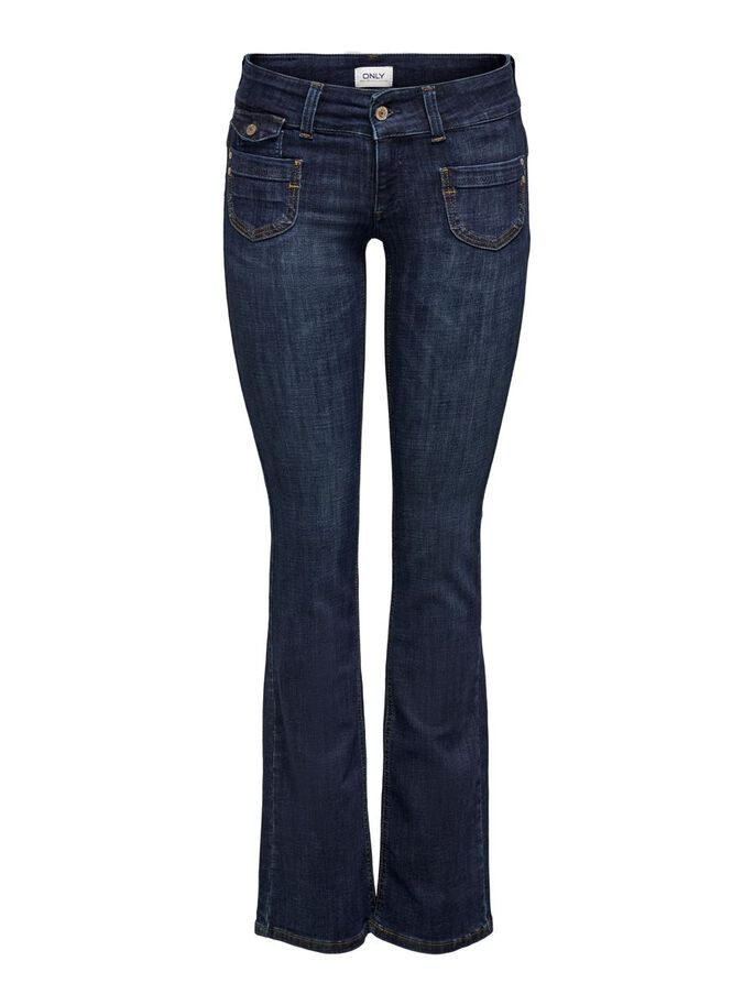 ONLEBBA LOW BOOT-CUT JEANS, Dark Blue Denim, large
