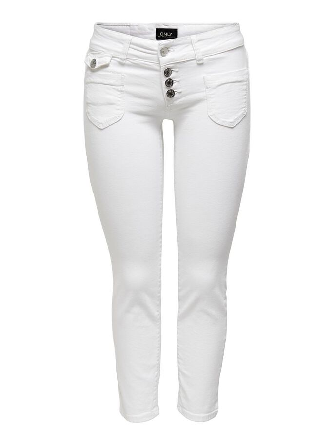 ONLEBBA ANKLE BUTTON STRAIGHT FIT JEANS, White, large