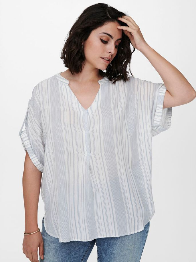 CURVY LOOSE FITTED TOP, White, large