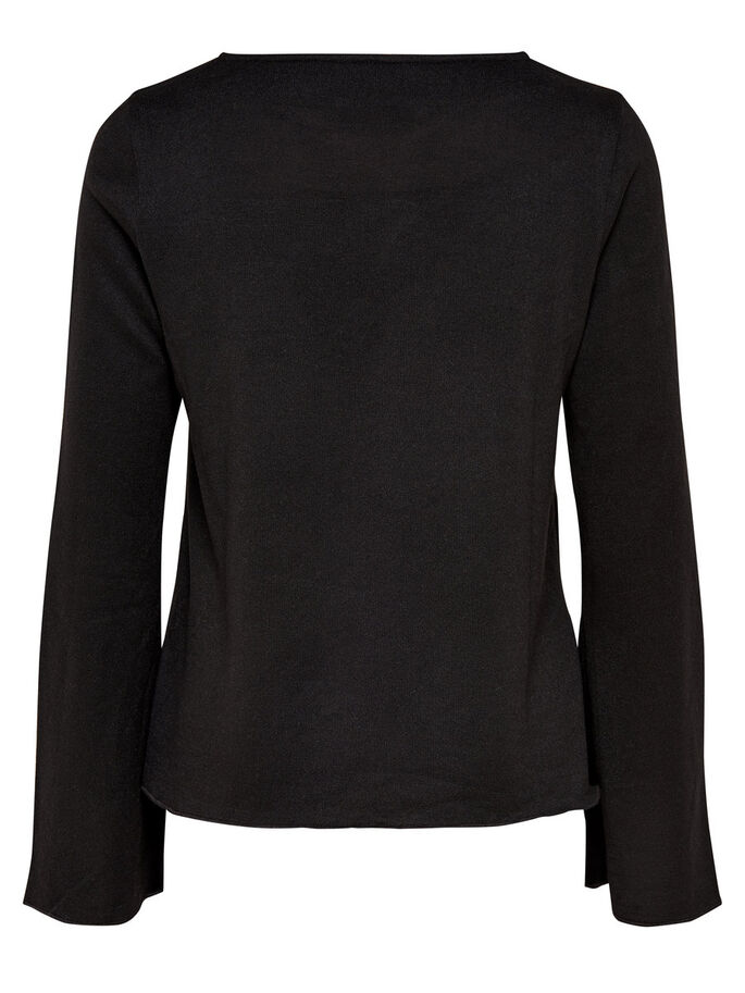FLARE LONG SLEEVED TOP, Black, large