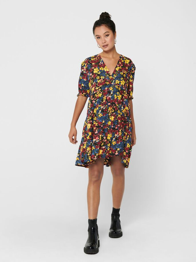 SHORT PRINTED DRESS, Black, large