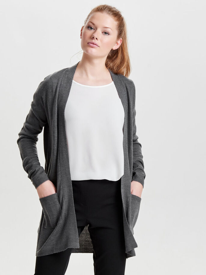 LÄSSIGER STRICK-CARDIGAN, Dark Grey Melange, large
