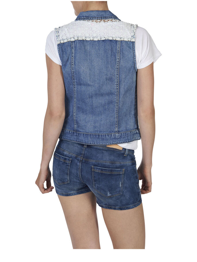 DENIM WAISTCOAT, Medium Blue Denim, large