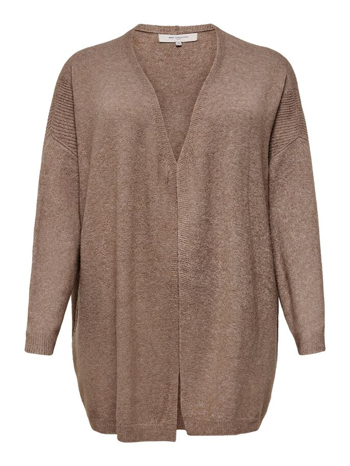CURVY LOOSE KNITTED CARDIGAN, Brownie, large