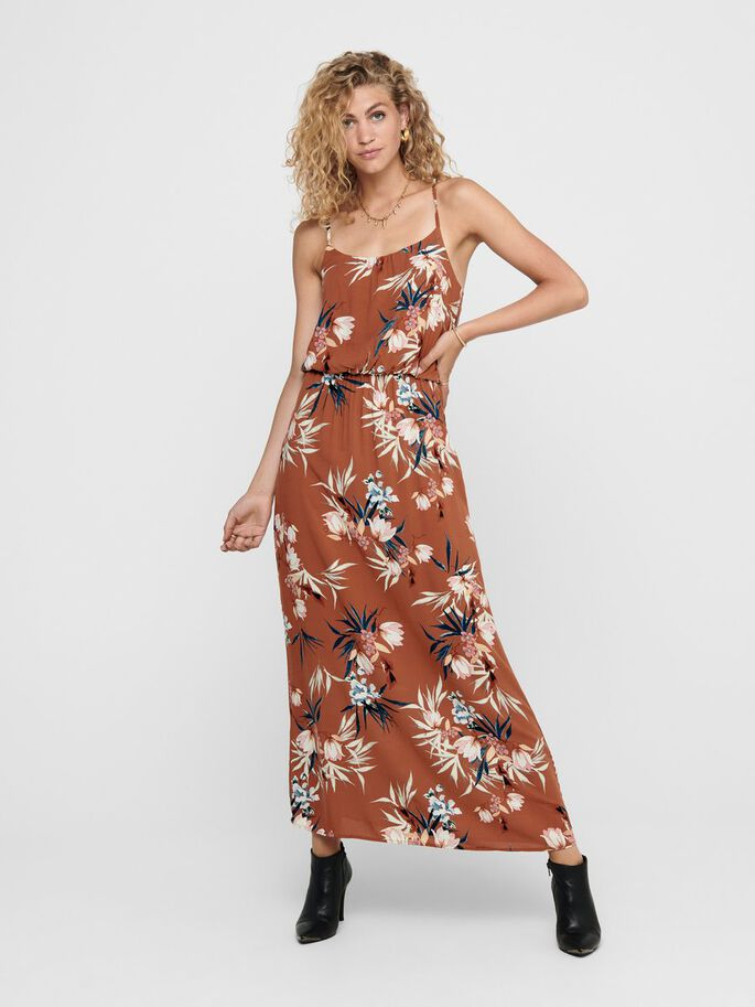 PRINTED MAXI DRESS, Ginger Bread, large