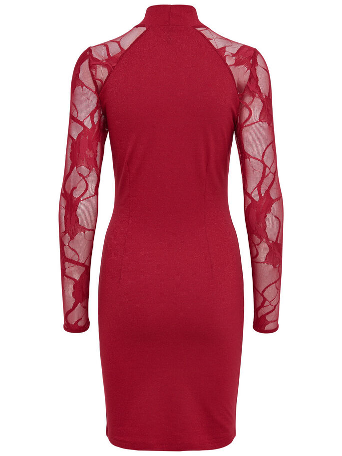 LACE LONG SLEEVED DRESS, Jester Red, large